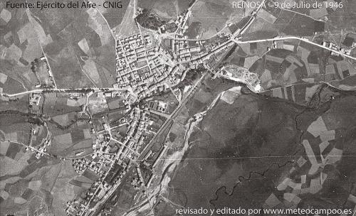 Imagen de Reinosa y las vegas de los ríos Ebro, Híjar e Izarilla (parte derecha de la foto), que hoy en día están parcialmente inundadas.