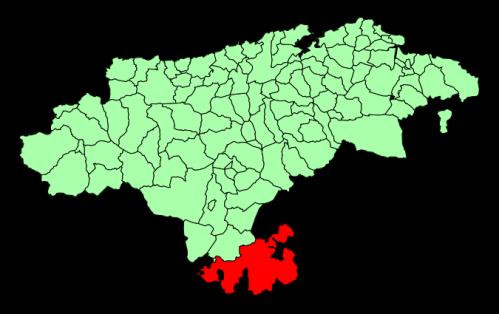 Municipio de Valderredible (en rojo) sobre el mapa de Cantabria.